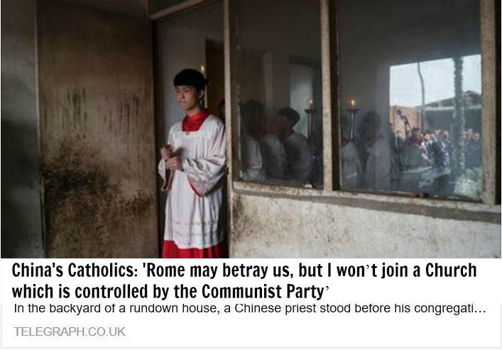 Cisma Iglesia catolica en China no se unira a la iglesia bergogliana